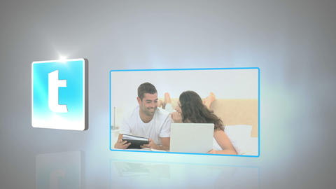 Montage of couples using media devices Animation
