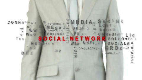 Business man pushing the social network button Animation
