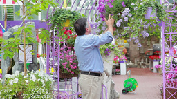 Man is smelling flowers in hanging basket Stock Video Footage