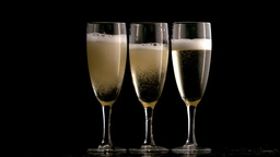 Three glasses of champagne Stock Video Footage