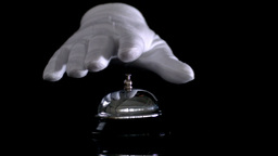 Hand Dinging Hotel Bell stock footage