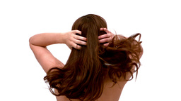 Woman shaking out her hair Stock Video Footage
