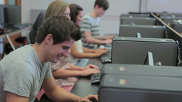 Students in a computer class Stock Video Footage