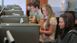 Students working concentrated on the computer Footage
