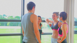 Group during break time from fitness class Footage