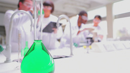 Chemists viewing liquids Stock Video Footage