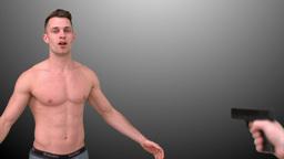 Shirtless man shot at close range Stock Video Footage