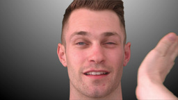Smilling man taking a slap Stock Video Footage