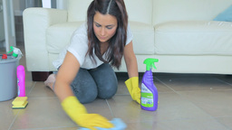 Woman using cleaner Footage
