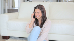 Video of smiling brunette woman phoning Footage