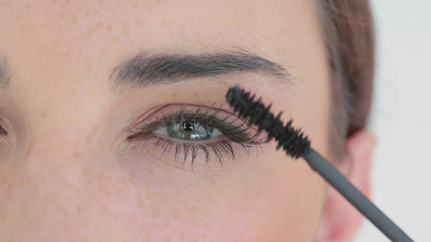 Beautiful womans eyes getting made up Stock Video Footage