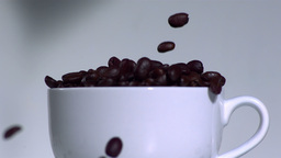 Overflowing coffee beans in a white cup Footage