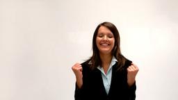 Businesswoman cheering Footage