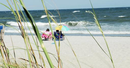 1853 People Enjoying the Beach with Ocean Waves, 4 Footage