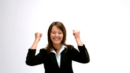 Woman happy with her success Stock Video Footage