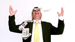 Bills falling on a businessman Stock Video Footage