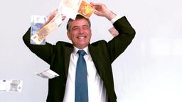 Businessman launching euro bills Footage