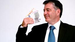 Businessman waving euro bills Footage