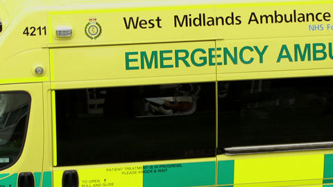 Look inside the ambulance through the open window  Footage