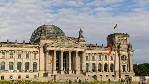 berlin german bundestag time lapse close pan 11459 Stock Video Footage