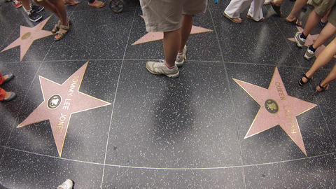hollywood walk of fame people walking on stars Stock Video Footage