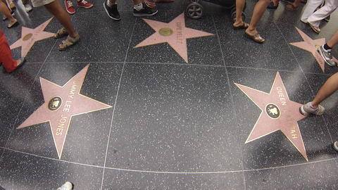 Hollywood Walk Of Fame People Walking On Stars stock footage