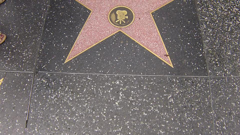 hollywood walk of fame star walking shot christoph Stock Video Footage