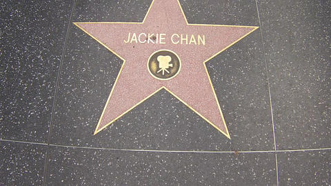 Hollywood Walk Of Fame Star Walking Shot Jackie Ch stock footage