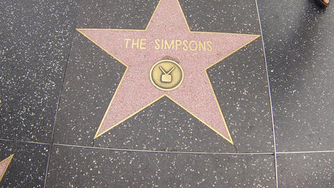 hollywood walk of fame star walking shot the simps Footage