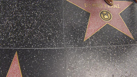 hollywood walk of fame stars walking shot Stock Video Footage