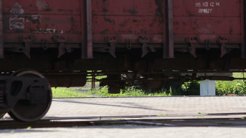 Cargo train wheels close up Stock Video Footage