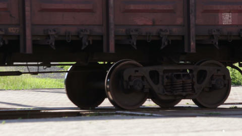 Cargo Train Wheels Close Up stock footage