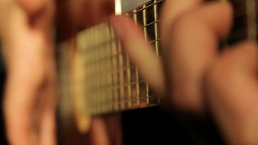 Guitar Playing Features stock footage