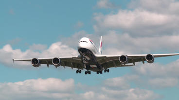 An Airbus Flight Coming In For Landing stock footage