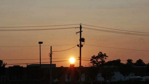 1959 Sunset with Power lines, HD Stock Video Footage