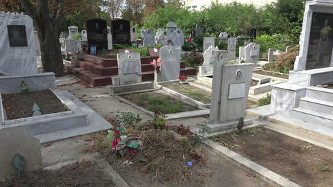 Muslim cemetery. Varna. Bulgaria. 4K Footage