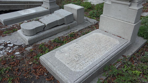 Destroyed the graves at the Jewish cemetery. Varna Stock Video Footage