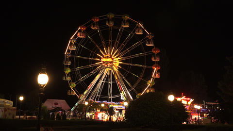 Ferris wheel in bright lights. Golden Sands. Resor Footage