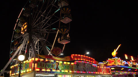 Ferris wheel in bright lights. Golden Sands. Resor Stock Video Footage