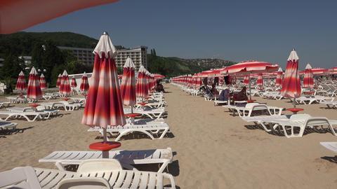 The beach in Albena. Resort Spa in Bulgaria. 4K Footage