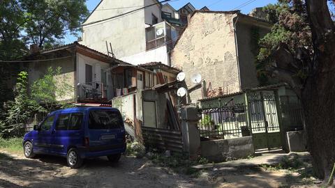 Old courtyard in Varna. Bulgaria. 4K Footage