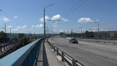 Asparuhov bridge in Varna. Bulgaria. 4K Stock Video Footage
