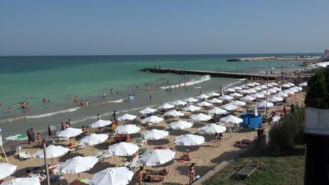 Golden Sands beach (Zlatni Piasci) in Bulgaria. 4K Footage