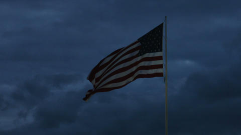 1985 American Flag at Dusk, HD Footage