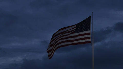 1987 American Flag at Dusk in Slow Motion Footage