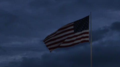 1987 American Flag at Dusk in Slow Motion Stock Video Footage