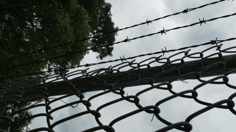 1997 Barbed Wire Fence Prison Boundary, HD Live Action