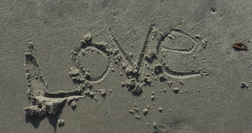 2009 Love Written in the Sand at the Beach, 4K Footage