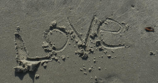 2009 Love Written in the Sand at the Beach, 4K Stock Video Footage
