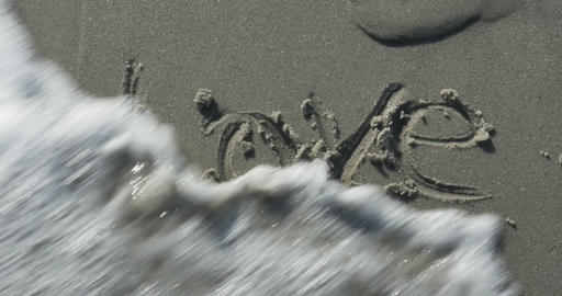 2010 Love Written in the Sand at the Beach, 4K Footage